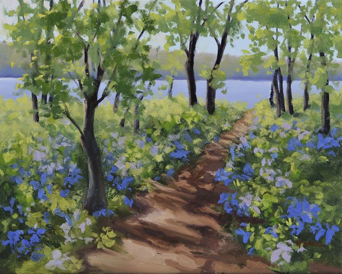 Bluebells line the hiking path along the Potomac in Riverbend Park in this oil painting by Hwa Crawford. An exhibition of Crawford's paintings, many of Great Falls scenes, will open March 31 in Middleburg.