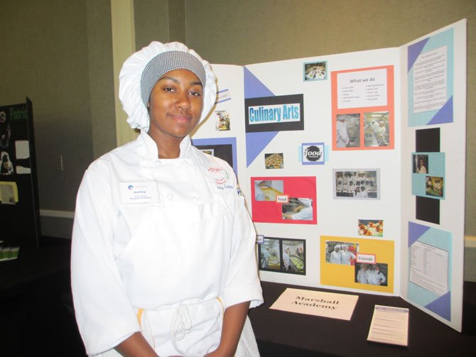 Ashley Coates, a senior at George C. Marshall High School, represented the Marshall Academy's culinary arts program.