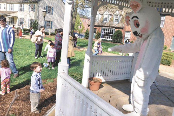 Nathaniel Wimmer, 2, says hello to the Easter Bunny during the Children's Spring Festival. This year's festival will take place April 1.