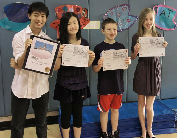 The Top Award Winners. Brian La, Marie Hur, Samuel Ganten, Karina Atkins (all are 6th graders at Westbriar ES).