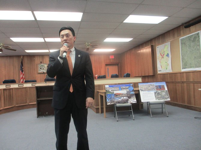 Del. Mark Keam [D-35] speaking with residents at his March 24 Town Hall Meeting held at the Vienna Town Hall.