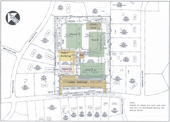 This drawing represents plans for the 20-acre Brickyard site, including four soccer fields, two full-size and two smaller, 125-150 parking spaces and a possible playground.