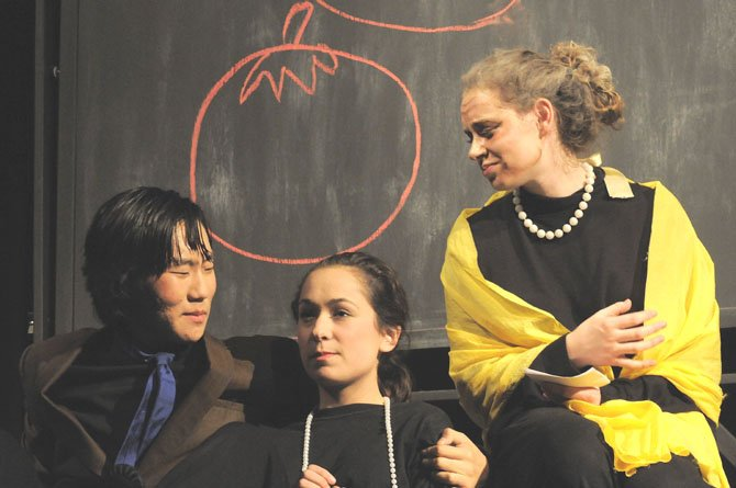 "In ""The True Love of My Parents,"" Old Mom (Amelia Boyle) listens as In-Love Mom and Dad (Hannah Shoultz and Zana Gankhuyag) talk about plans for their future."