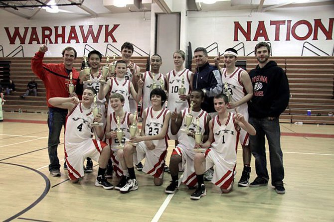 The Vienna Warhawks' eighth grade boys' basketball team finished a perfect 17-0 and captured the Fairfax County Youth Basketball League title with a tournament finals win over McLean.