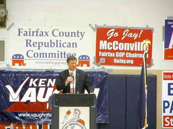 Former Governor George Allen fires up the crowd at the 2012 Fairfax County GOP Convention on Saturday, March 24, at West Springfield High School.