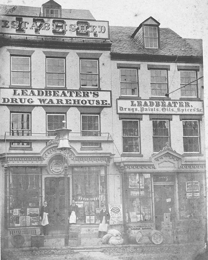 The apothecary displayed only the Leadbeater name in this c. 1890 photograph.