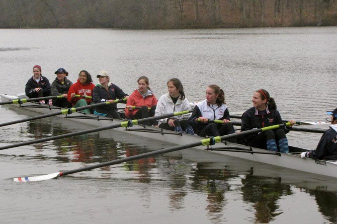 The T.C. Williams Girls Freshman 8 head out for a practice run before the Noxontown Regatta in Delaware on the morning of March 31. The Freshman 8 would go on to capture 1st place in their race later in the day. Members of the boat include (from right to left): coxswain Kathrina Policarpio and rowers Maeve Bradley, Kyra McClary, Maura Nakahata, Claire Embrey, Lynn Stevens, Ana Diaz, Rachael Vannatta and Zoe Gildersleeve.