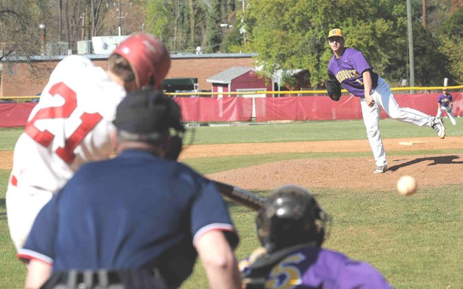Lake Braddock pitcher Thomas Rogers struck out nine McLean batters in 4 1/3 innings during the teams' April 3 match-up.