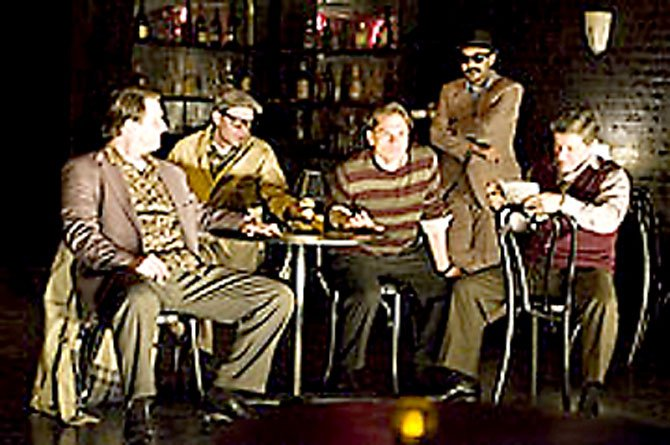 From left: Sun King Davis, Kevin Hasser, Patrick Bussink (center in striped sweater), Maboud Ebrahimszadeh and Chris Mancusi in the 1st Stage production of 'Side Man.'