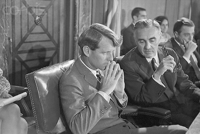 25 Aug 1966, Washington, DC, USA --- Robert Kennedy Sitting Next to Abraham Ribicoff --- Image by © Bettmann/CORBIS