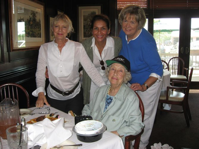 Celebrating Gaga's 100th birthday on a gal's day out at Hunter's Inn were Carole Dell, Gaga, Jeanne Moutoussamy-Ashe and Gaga's daughter, Mary Lou Dell.