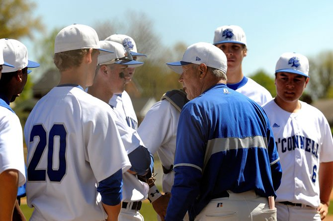 Bishop O'Connell baseball coach Rick Hart talks to the Knights during an April 7 loss to St. Mary's Ryken in Arlington.