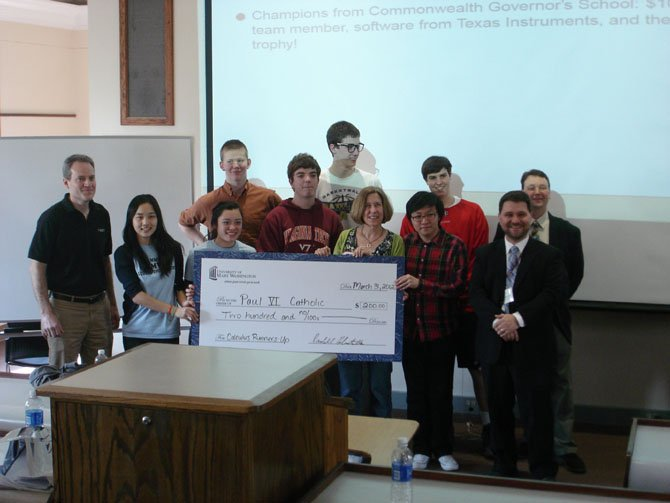 The two Calculus teams from Paul VI are presented with $200 for their achievement in the 6th annual Calculus tournament at Mary Washington.