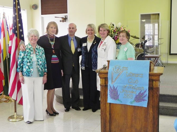 From left: Woman's Club second vice-president Susan Cooper Jordano; Breast Health Center benefactor Lola Reinsch; Virginia Hospital Center vice-president and development officer Steve Rubloff; Woman's Club president Virginia Sandahl; Breast Health Center surgeon Dr. Molly Sebastian and Woman's Club first vice-president Millie Thompson.