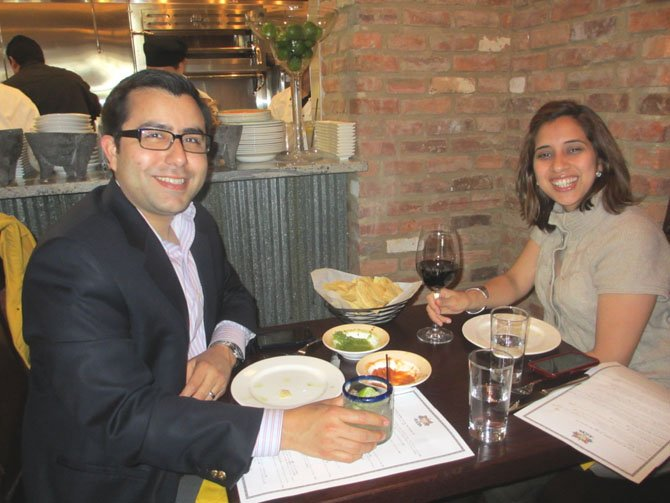 Bazin's on Church regulars John Lopez and Dayana Umana celebrated their fourth anniversary at Alegria, the first patrons to be admitted into the restaurant on opening day.