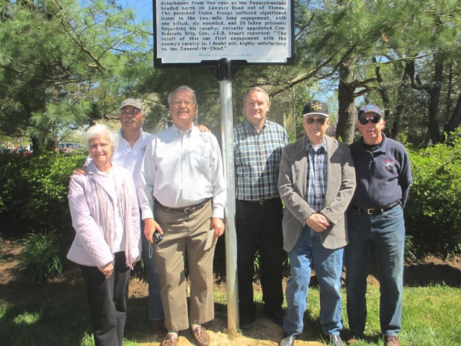 Vienna Mayor Jane Seeman, HMDL members Jim Lewis, Charlie Balch, Steve Hull, Tom Evans, and Bob Eldridge at the newly-unveiled marker commemorating the first skirmish between Union forces and Confederate forces serving under Gen. J.E.B. Stuart.
