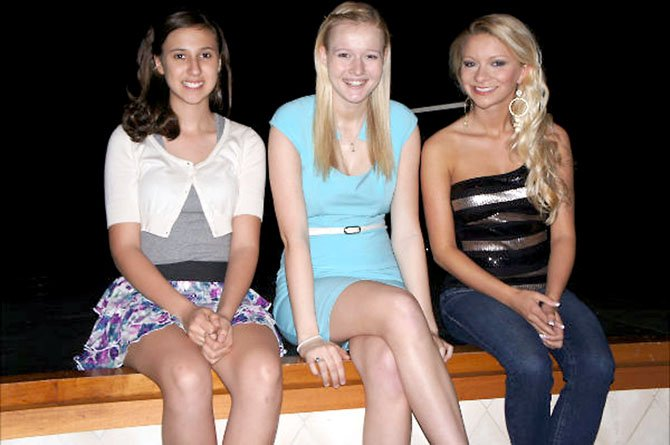 2012 royalty taking a break:  Elizabeth Krantz, Miss Pre-Teen; Alyssa Howell, Miss Teen; Blaire Borum, Miss Greater Springfield.