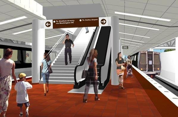 Artist's sketch of the interior view of one of the stations along the Silver Line.