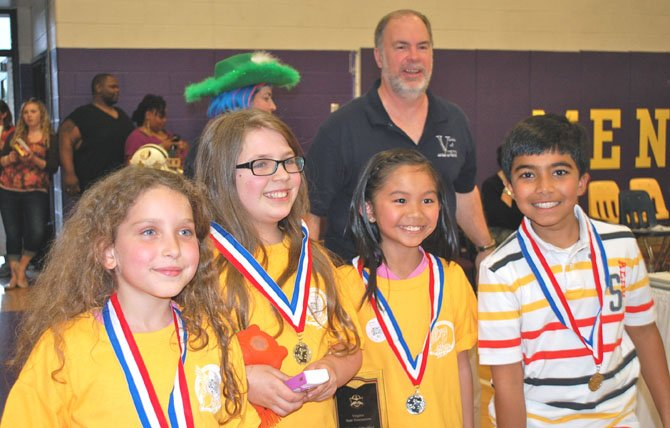 Forestville team members at State Finals award ceremony: from left - Sarina Bell, Gwyn Murphy, Sydney Pham, and Aditya Khera with Voices Director Barry Stamey.