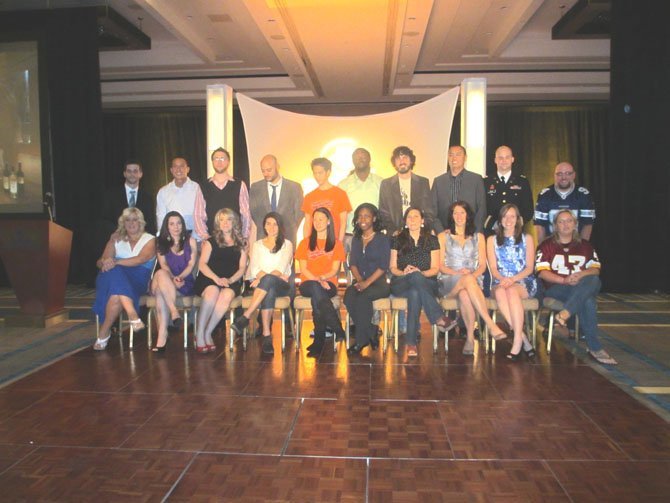 The ten couples that were finalists in the Hilton McLean $28,000 wedding giveaway, presented on April 4 at the hotel.