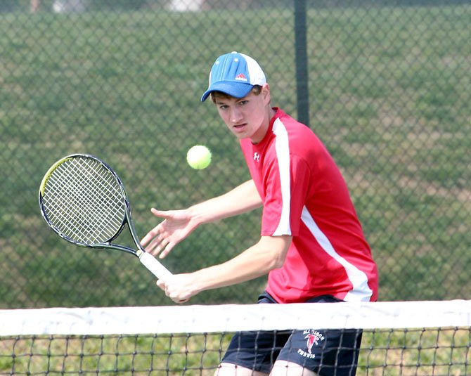 This past Friday, Madison High boys' tennis player Alec Ostapovicz, shown here during an earlier season match this spring, won his No. 3 singles outing over a Fairfax High opponent and was also part of a victory at No. 2 doubles play, where he teamed with John Nothaft.