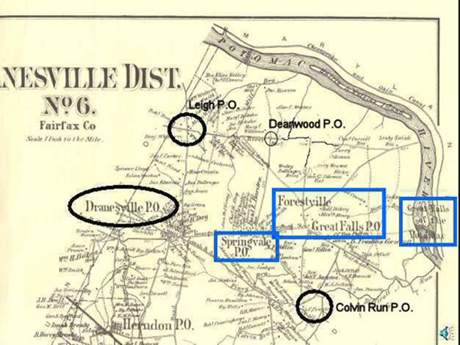 1879 Map of Great Falls Post Offices: This 1879 map shows the location of the several post offices that have served what is now the Great Falls area. Only the Dranesville Post Office, Springvale Post Office, and the Great Falls Post Office for Forestville were in existence when this map was drawn. The Matildaville Post Office in the Great Falls Park area (blue rectangle at the far right) had only been in service from 1828 to 1830. The Leigh Post Office, Deanwood Post Office, and Colvin Run Post Office were yet to come. The post office serving the crossroads community known as Forestville had been given the name Great Falls to avoid being confused with another Virginia post office already named Forestville.