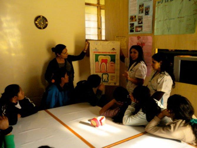 Bianca Crousillat in a classroom in Peru.