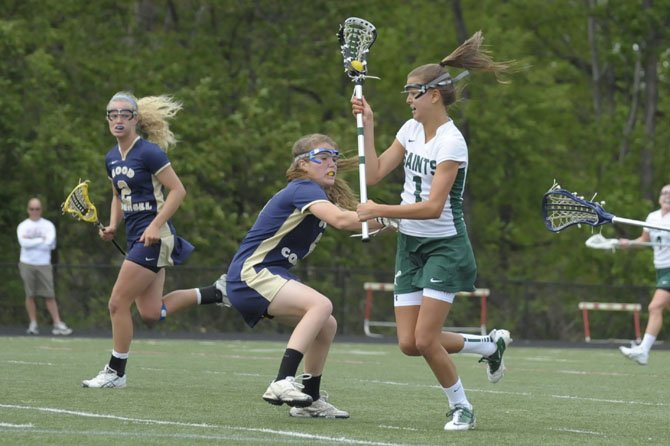 St. Stephen's & St. Agnes junior Carly Reed scored a team-high five goals against Good Counsel on April 14 during the Saints' 21st annual Spring Fling.
