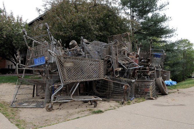 Cleanup volunteers pulled out more than 40 shopping carts from Little Hunting Creek near Janna Lee Lane.