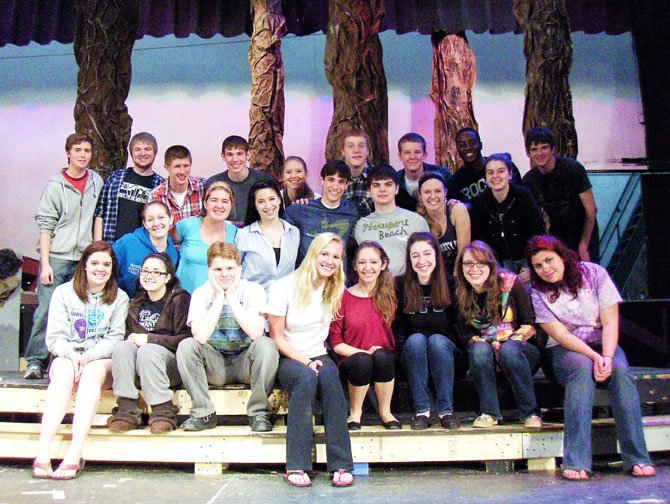 "Most of the cast of Chantilly High's upcoming musical, ""Into the Woods."""
