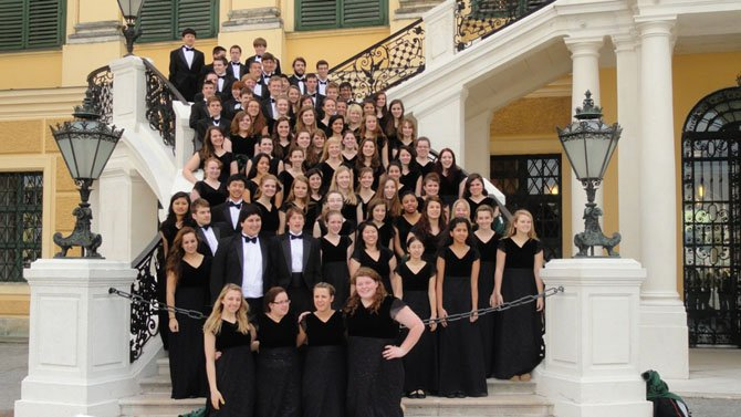 Students from the Langley Choir visit Schonbrunn Palace in Vienna during their Spring Break trip to Europe.