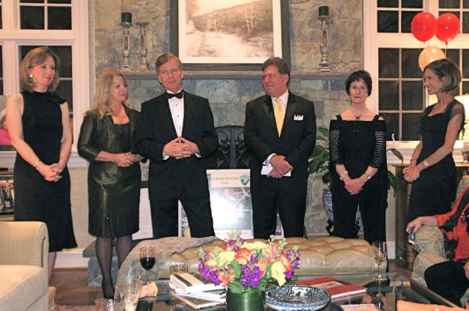 Del. Barbara Comstock (R-34), Virginia's First Lady Maureen McDonnell, Gov. Robert McDonnell, Kevin Fay, Dranesville District Rep. Fairfax County Park Authority Board, Sharon Bulova, Chairman, Fairfax County Board of Supervisors (D-At-Large), and Juliann Celemente, hostess and President of Friends of Clemyjontri Park, welcome supporters to the Park's annual fundraiser.