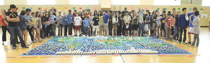 The eight graders at H-B Woodlawn and their 23'x15' cupcake map of the world.