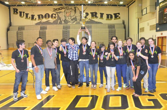 A team of 19 students from Langley High School finished first place, statewide, at the Virginia Science Olympiad. Among those taking part from Langley were Joao Ascensao, Julia Casazza, Ryan Cheng, Saba Eskandarian, Noah Flaxman, Alex Hurr, Na He Jeon, Alan Kai, Dana Kazerooni, Gene Kim, Jaisohn Kim, Liana Kramer, Calvin Li, Kelvin Niu, Debbie Pan, Paige Piszel, Aishvar Radhakrishnan, Vaibhavi Silamgari and Timothy Tsai. Faculty sponsor is Leah Puhlick.