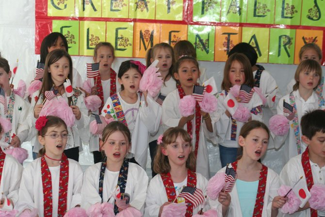 19 first graders, 12 third graders, and four fourth graders from the Japanese Immersion Program at Great Falls Elementary School performed at the Cherry Blossom Festival on Saturday, April 14.