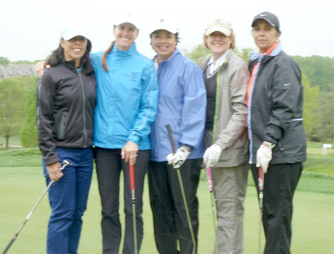 From left: Laurie Capra, Brandi Chastain, Jackie Simmons- Reade, DJ Garrett and Sunita Kul at The First Tee Golf Outing.