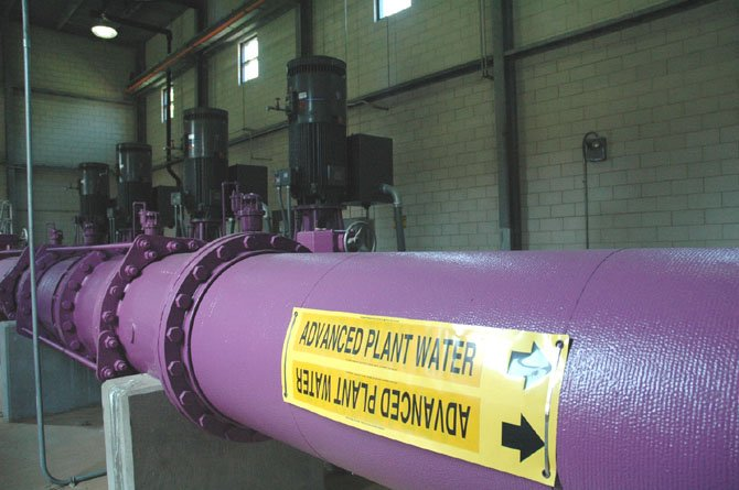 The purple pipes inside the Noman M. Cole Pollution Control Plant will funnel reclaimed water to a variety of sites in the Lorton area.