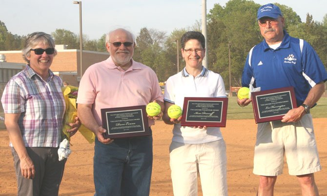Theresa Evans, Dave Evans, Ilene Dranoff and Lee Harrington were honored at Fort Hunt Softball Opening Day Ceremony.