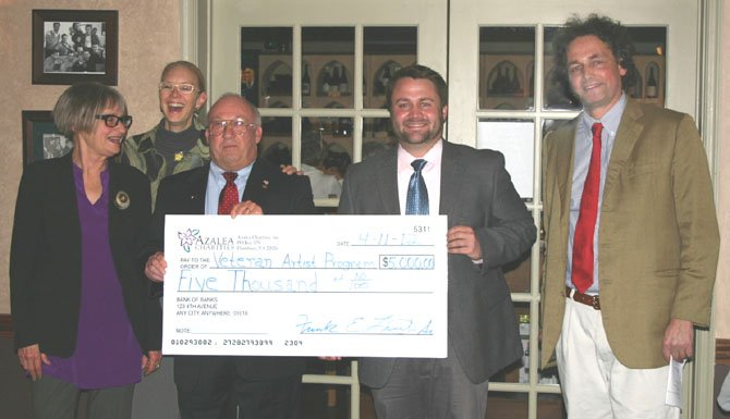 Azalea Charities presents a check for $5,000 to the Veteran Artist Program.  From left are Andrea Hull, Arts and Military Festival Assistant Project Coordinator/Documentary Film Editor, Veteran Artist Program; Jane Milosch, Director of Provenance Research Initiative, Office of the Undersecretary for History, Art and Culture, Smithsonian Institution; Frank Lasch, Chairman and Founder of Azalea Charities; BR McDonald, Founder-Director of the Veteran Artist Program, and Duke Leopold d'Arenberg.