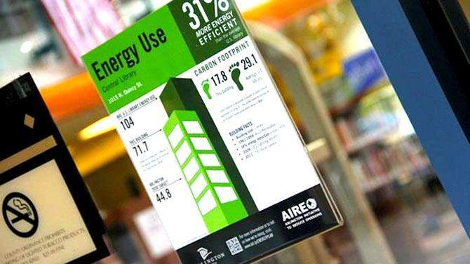 Arlington County's energy performanc label on display at the county's Central Library.