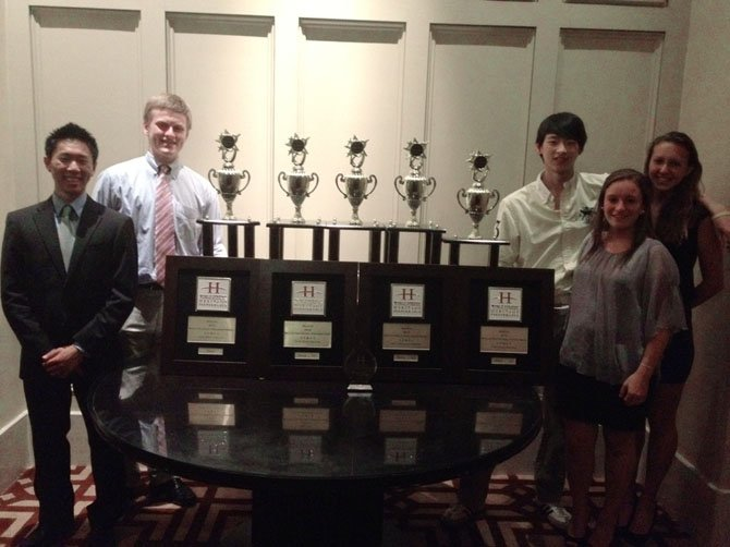 Individual music awardees pose after three McLean High bands placed first in the WorldStrides Heritage Festival competition in Boston last weekend. Pictured are Jeong-In Lee, Josh Higbee, Brett Park, Margaret Duvall and Danielle Wertz.