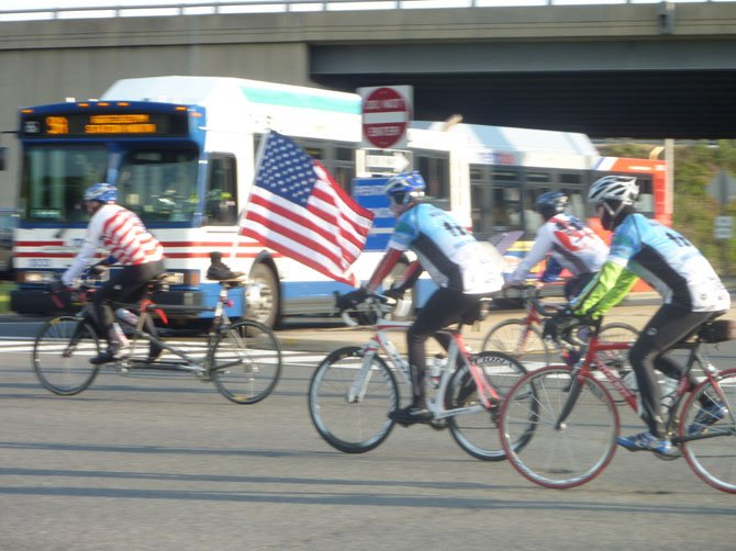 Cyclists leave Crystal City April 28 as part of the 2012 Face of America bike ride. More than 500 riders participated in the 100-mile ride from the Pentagon to Gettysburg.