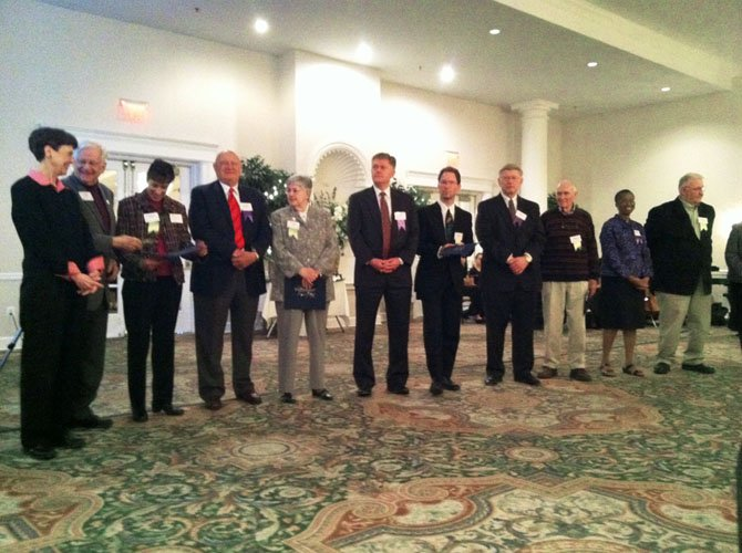 Breakfast of Champions: Fairfax County Supervisors stand with their nominees for the Community Champion award for outstanding community leadership at the 20th annual Volunteer Service Awards ceremony Friday, April 27 at the Waterford in Springfield. The event was sponsored by UnitedHealthcare.