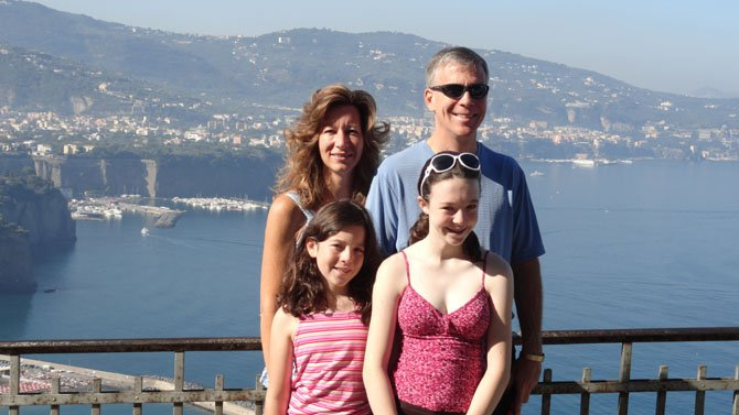 Linda and John McKeown with (from left) daughters Anna and Jenna last summer in Sorrento, Italy.