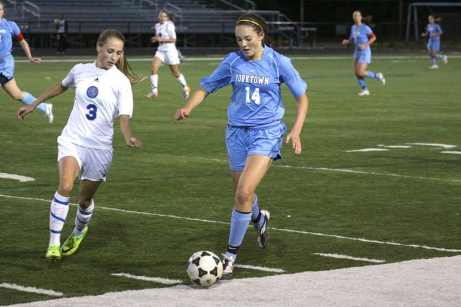 Sophomore midfielder Meghan Flynn is one of the Yorktown girls' soccer team's top offensive threats.