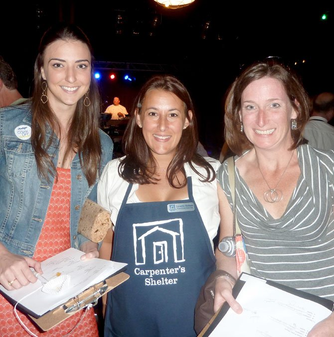 Carpenter's Shelter Executive Director Lissette Bishins, center, with blogger 'K Street Kate' Michael  and Foodie and the Beast's Molly Ahearn, who served as judges for the cook off.