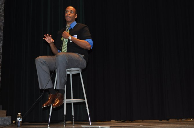 Jordan Burnham, speaks to almost 800 students at South Lakes High School Tuesday, April 24. Burnham appeared as part of the school's mental wellness week, to discuss his suicide attempt, struggle with depression and how students can deal with similar feelings.