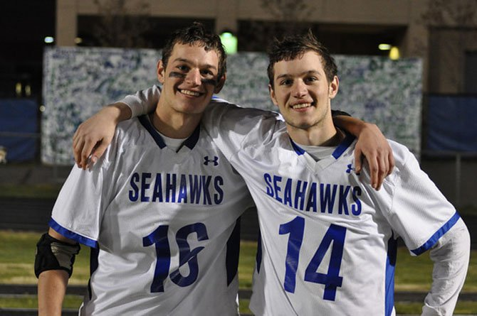 Brothers Nick and Alex Tucker, seniors on the South Lakes High boys' lacrosse team, came up through the Reston Youth League. Both are three-year varsity starters for the Seahawks.