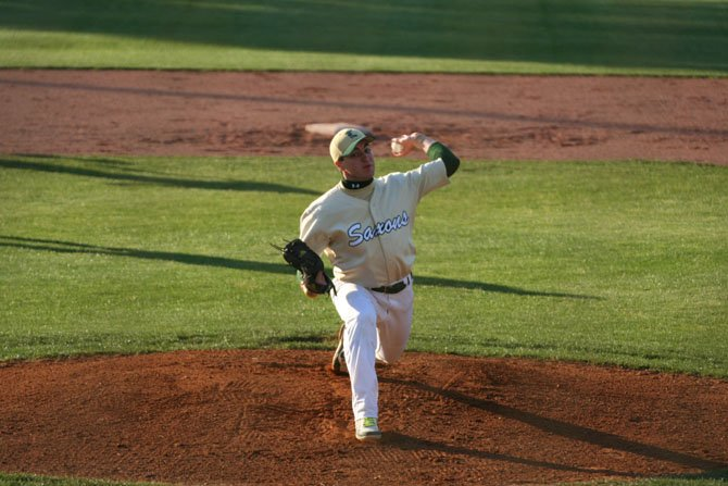 Langley High baseball pitcher Jonathan O'Connor, a senior, earned the decision for the Saxons in their 5-3 home victory over the South Lakes Seahawks last Friday. The Saxons improved to 9-7 on the season.