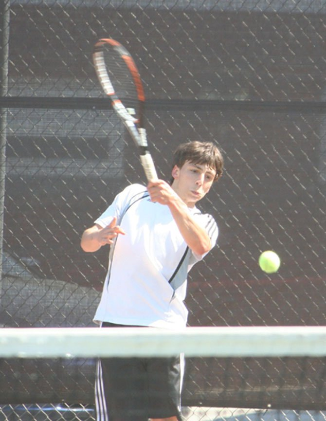 Senior Matt Bosco plays at No. 4 singles for the Madison High tennis team.
